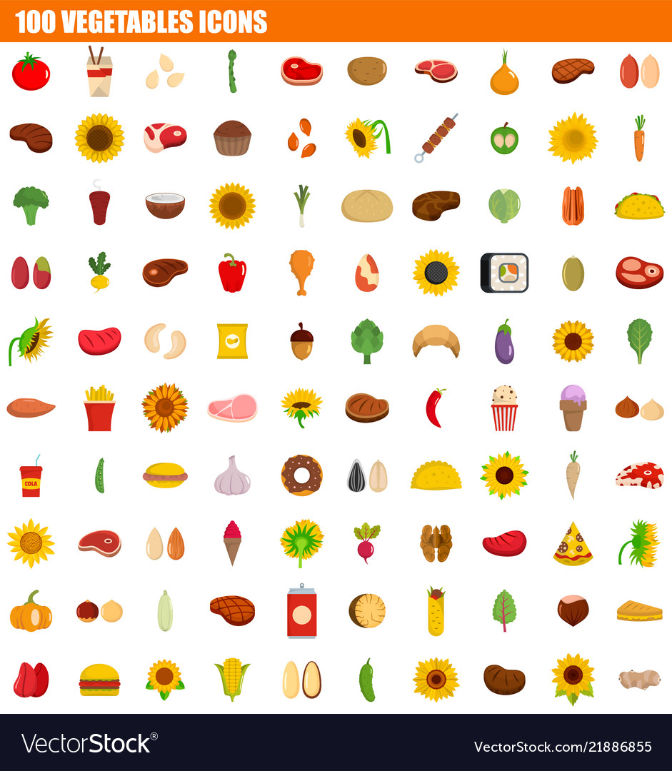 100 vegetables icon set flat style