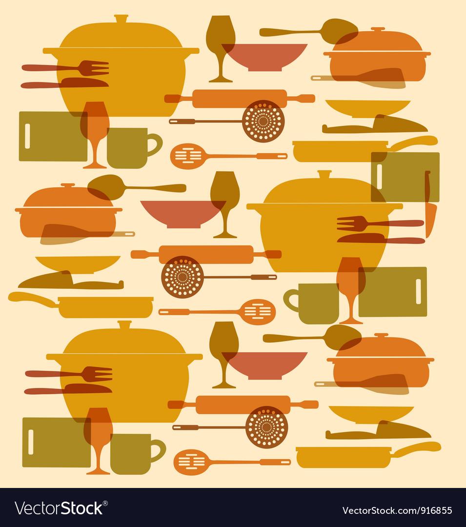 Background kitchenware set vector image