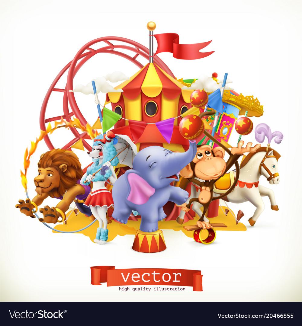 Circus funny animals elephant monkey lion horse 3d