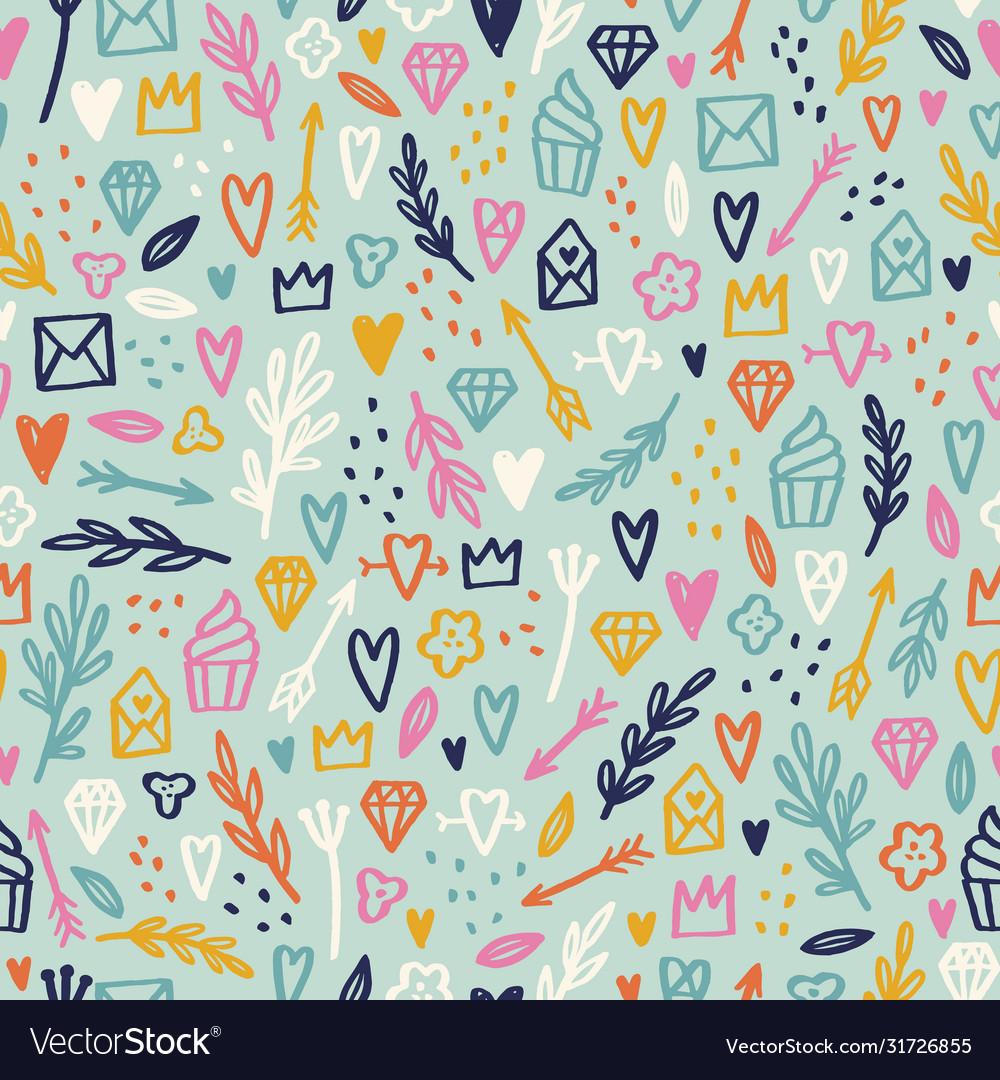 Cute hand drawn romantic doodles seamless pattern