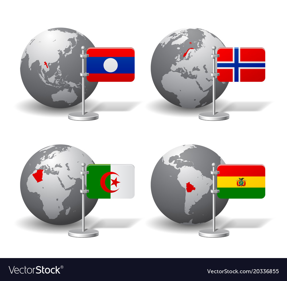 Gray earth globes with designation of laos