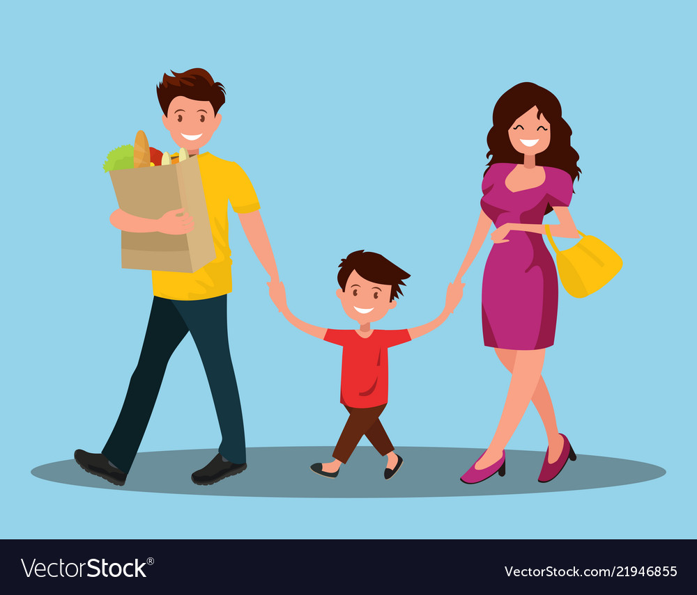 Happy family dad mom and son are going home