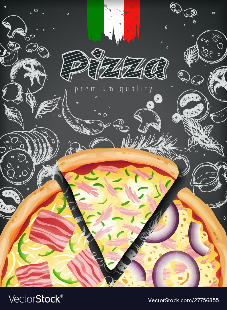 Italian pizza ads or menu with rich