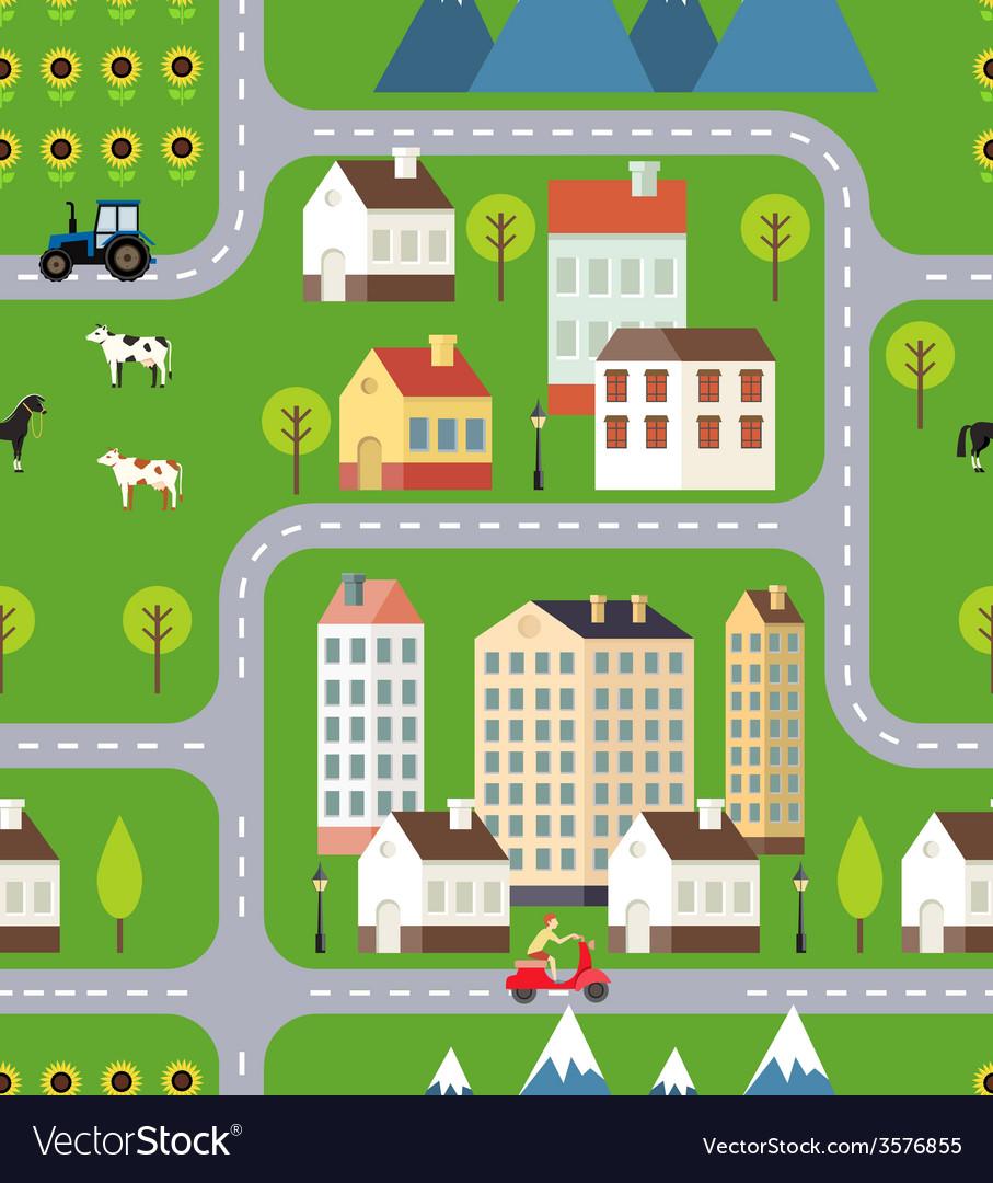 Seamless Town Background Design