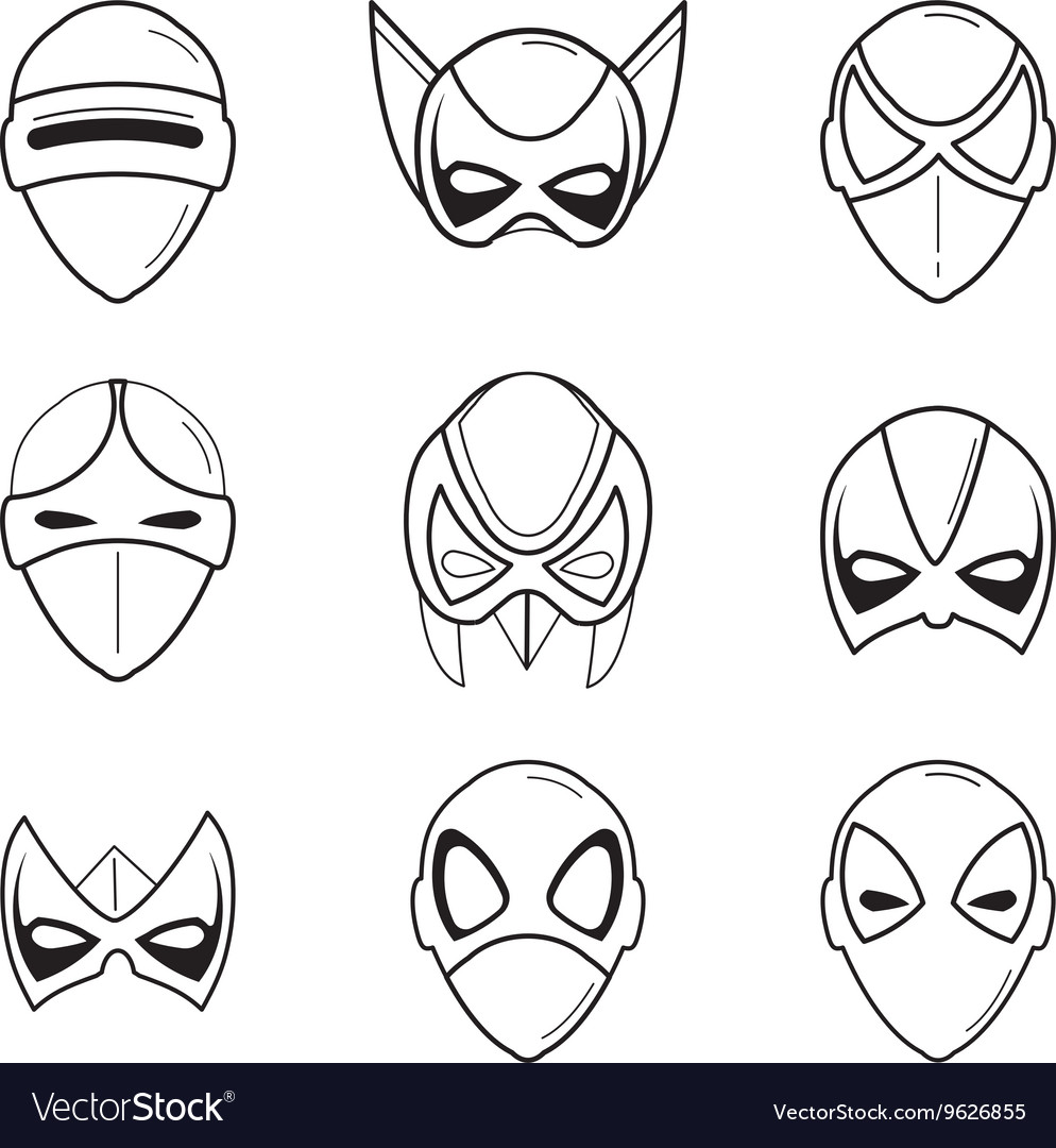 Set of super hero masks in linear style