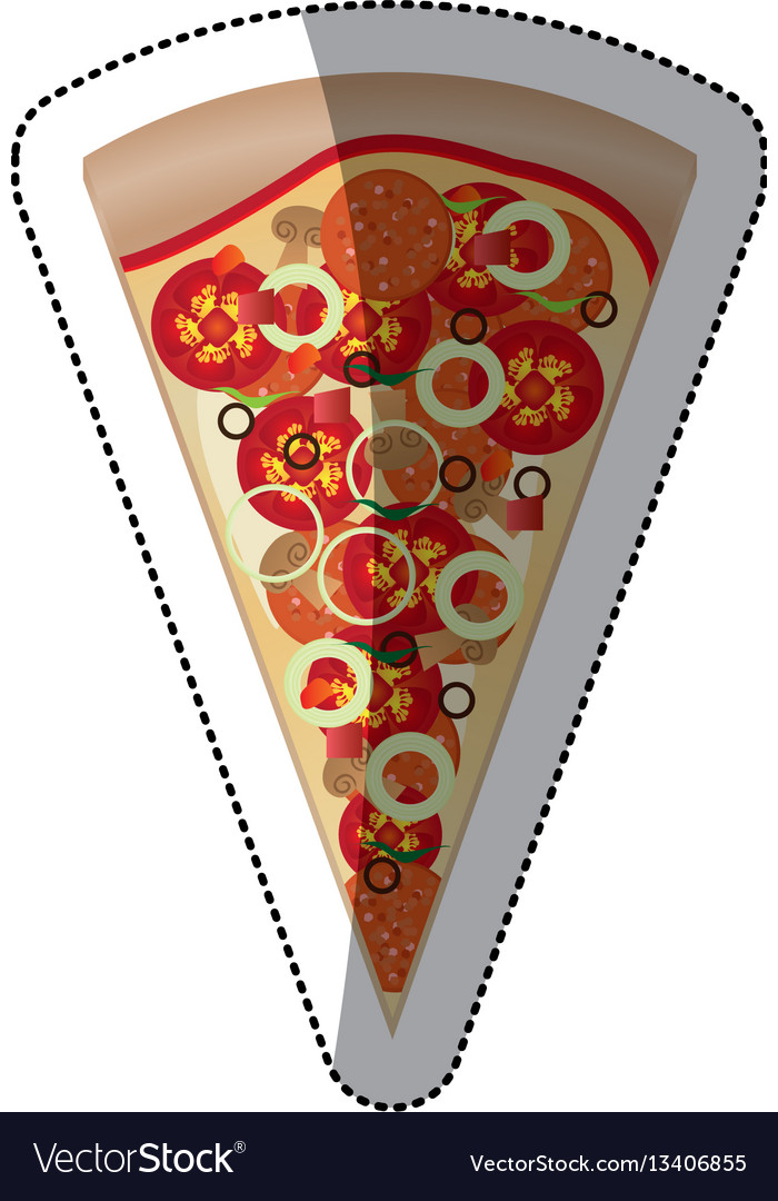 Sticker colorful piece pizza icon fast food