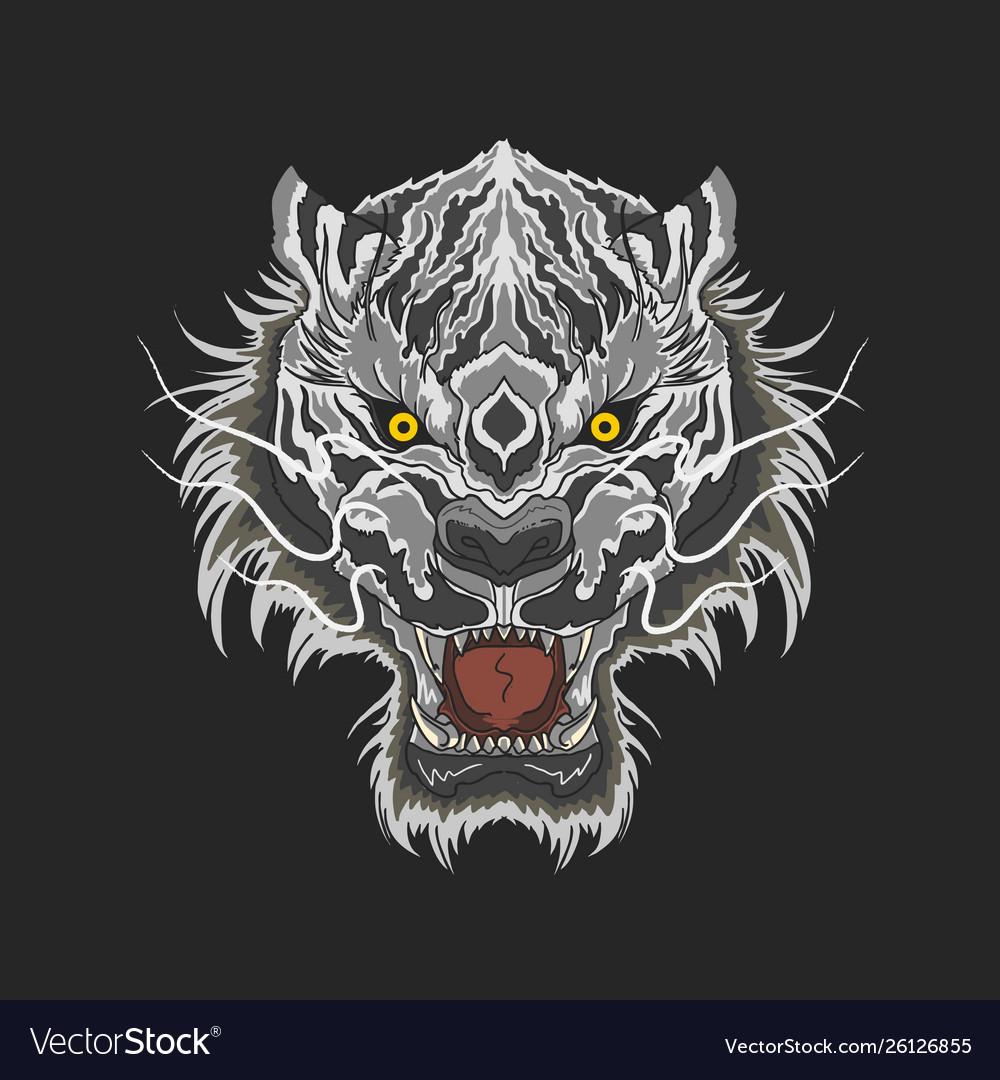 White tiger beast head mascot