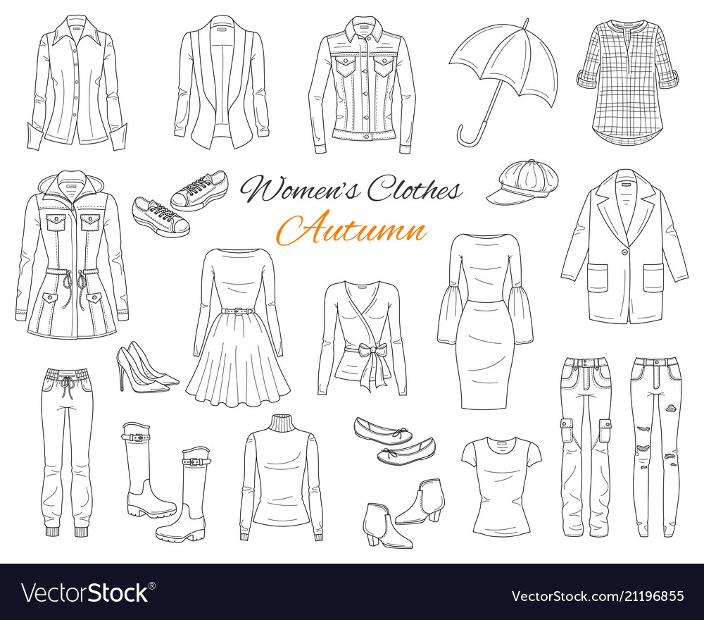 Women s clothes collection sketch