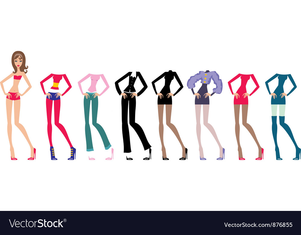 Young beautiful paper dolls with clothes set vector image