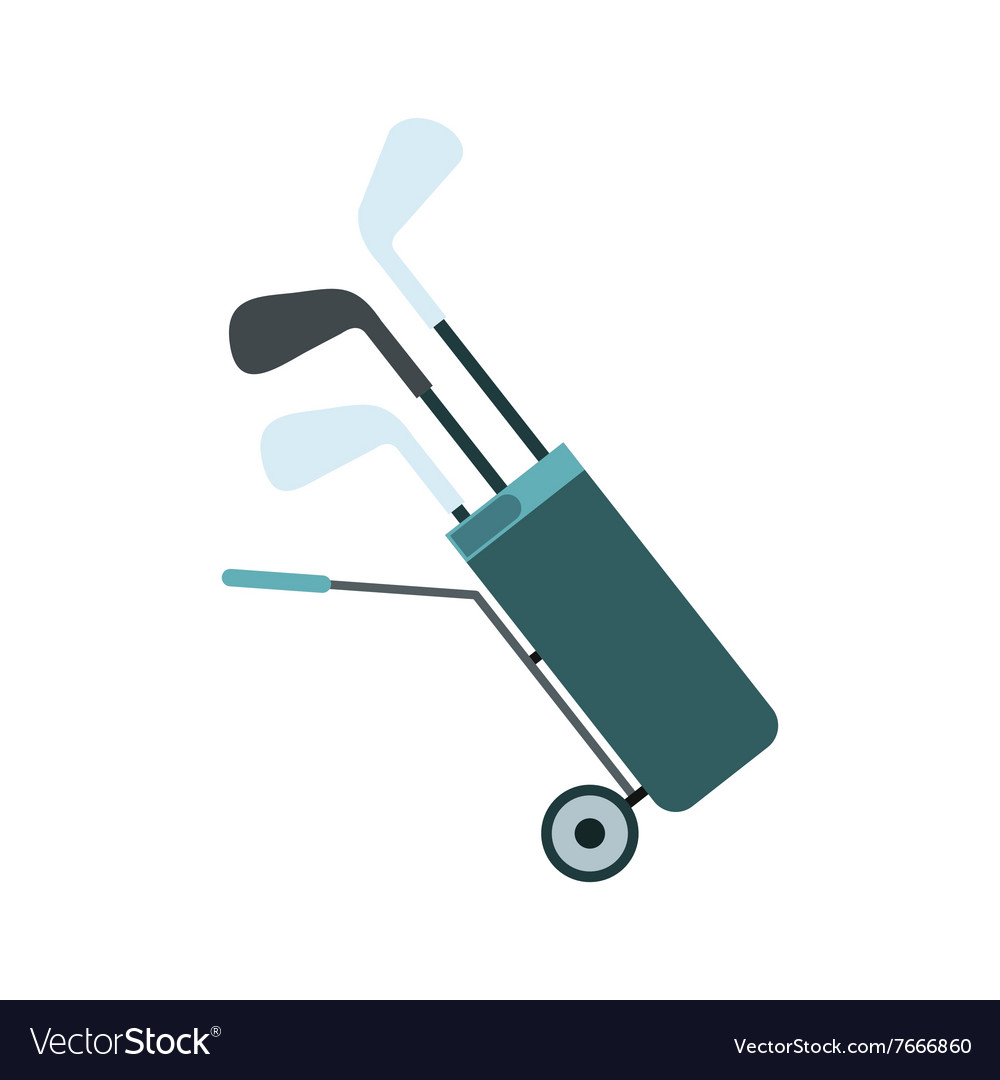 A wheeled golf bag full of golf clubs flat icon vector image