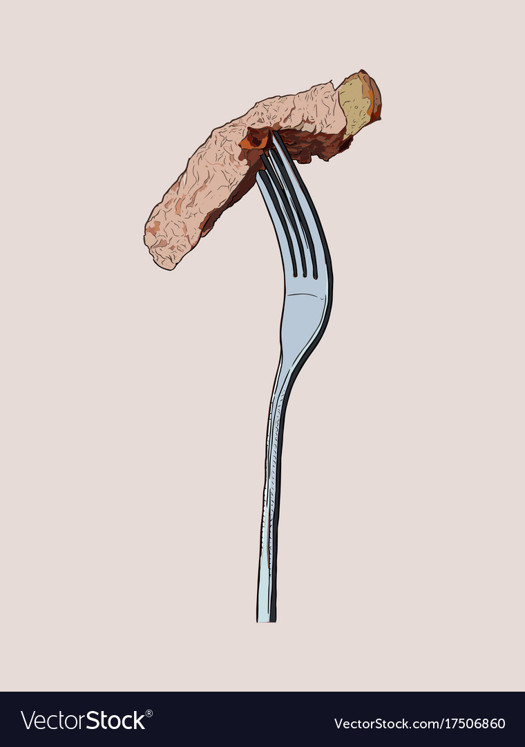 Beef steak on fork sketch vector image