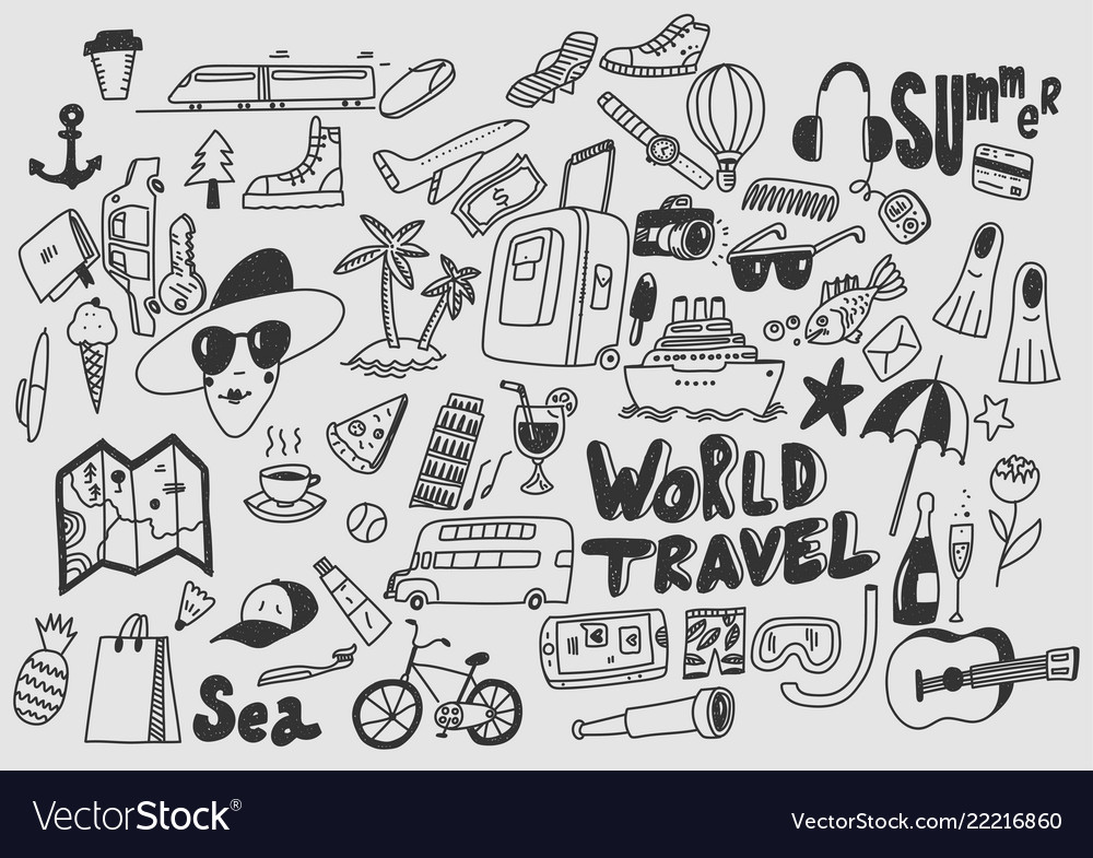 Hand draw doodle travel symbols tourism and