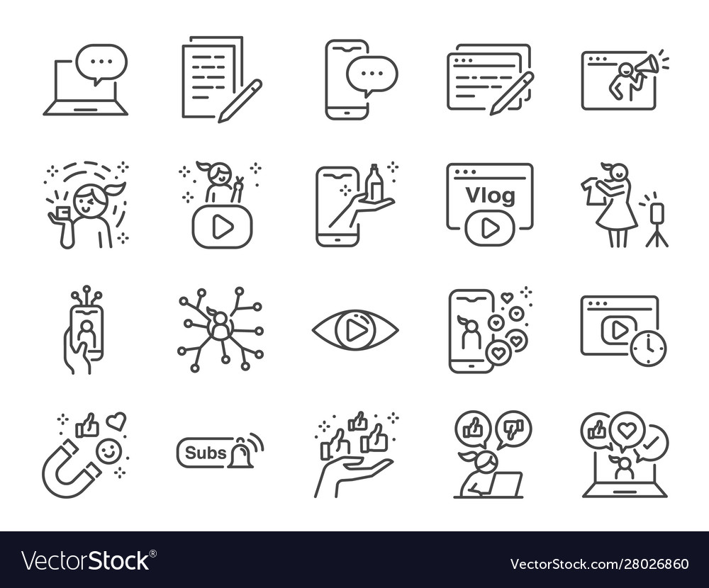 Micro influencer and blog line icon set