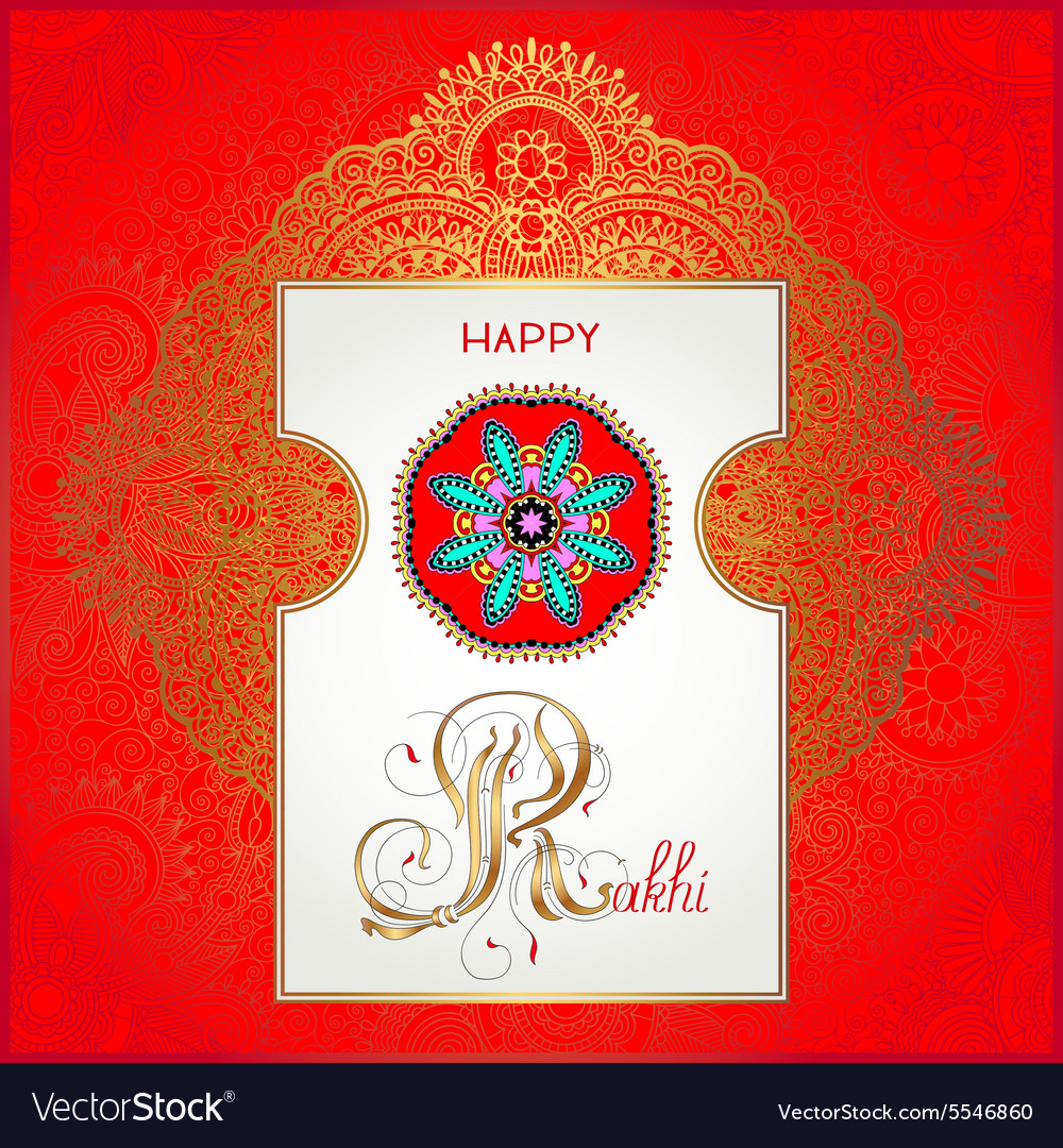 Red happy rakhi greeting card for indian holiday vector image m4hsunfo