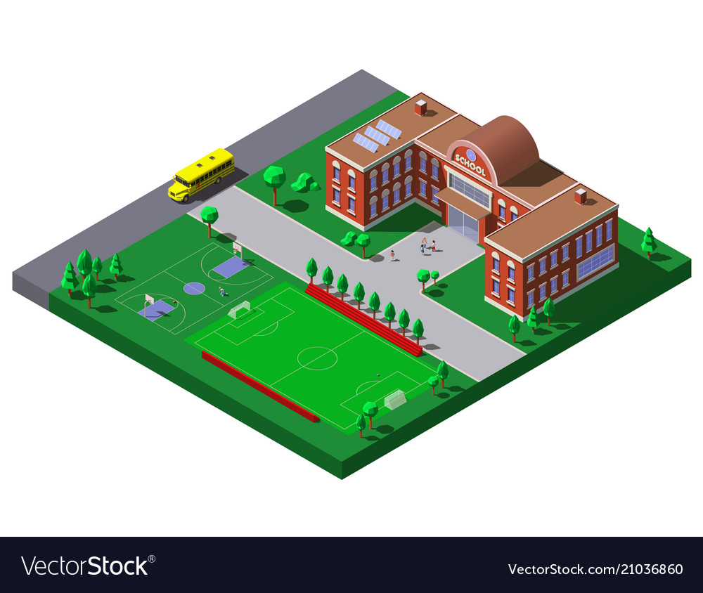 School building with soccer tennis field and