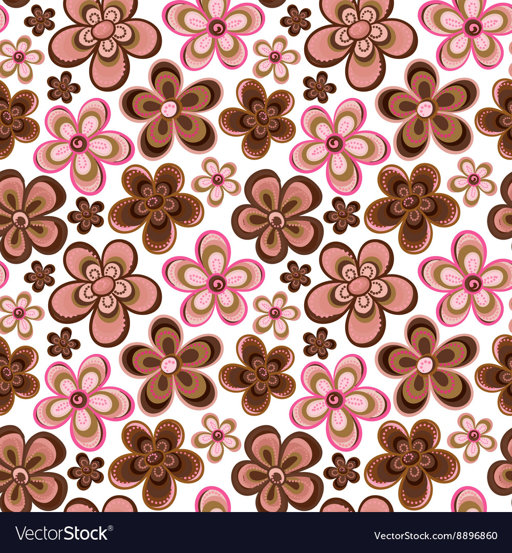 Seamless floral pattern in doodle style