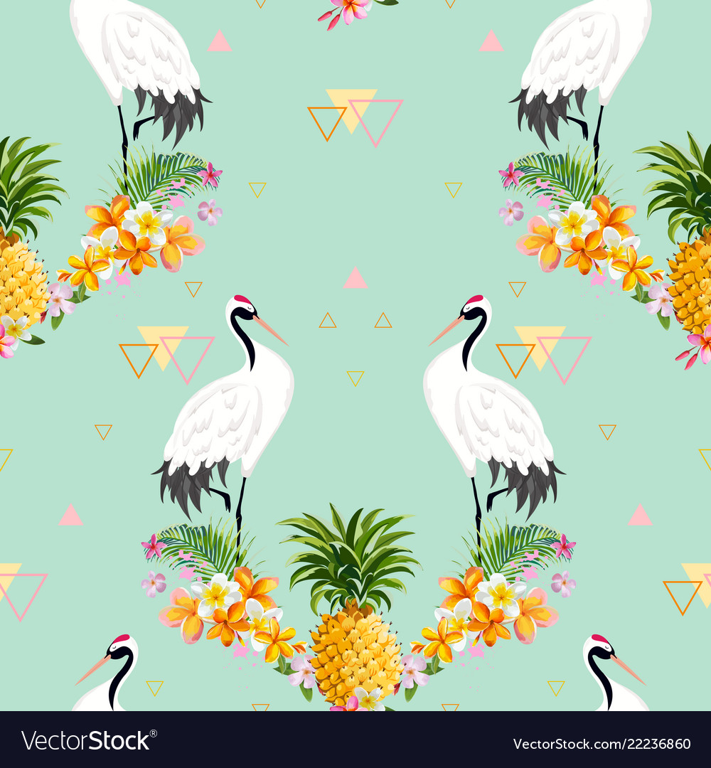 Seamless pattern with japanese cranes and flowers