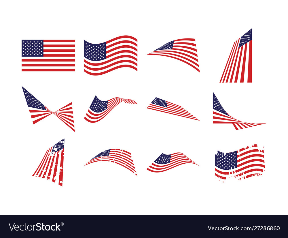 United states flag collection set graphic design