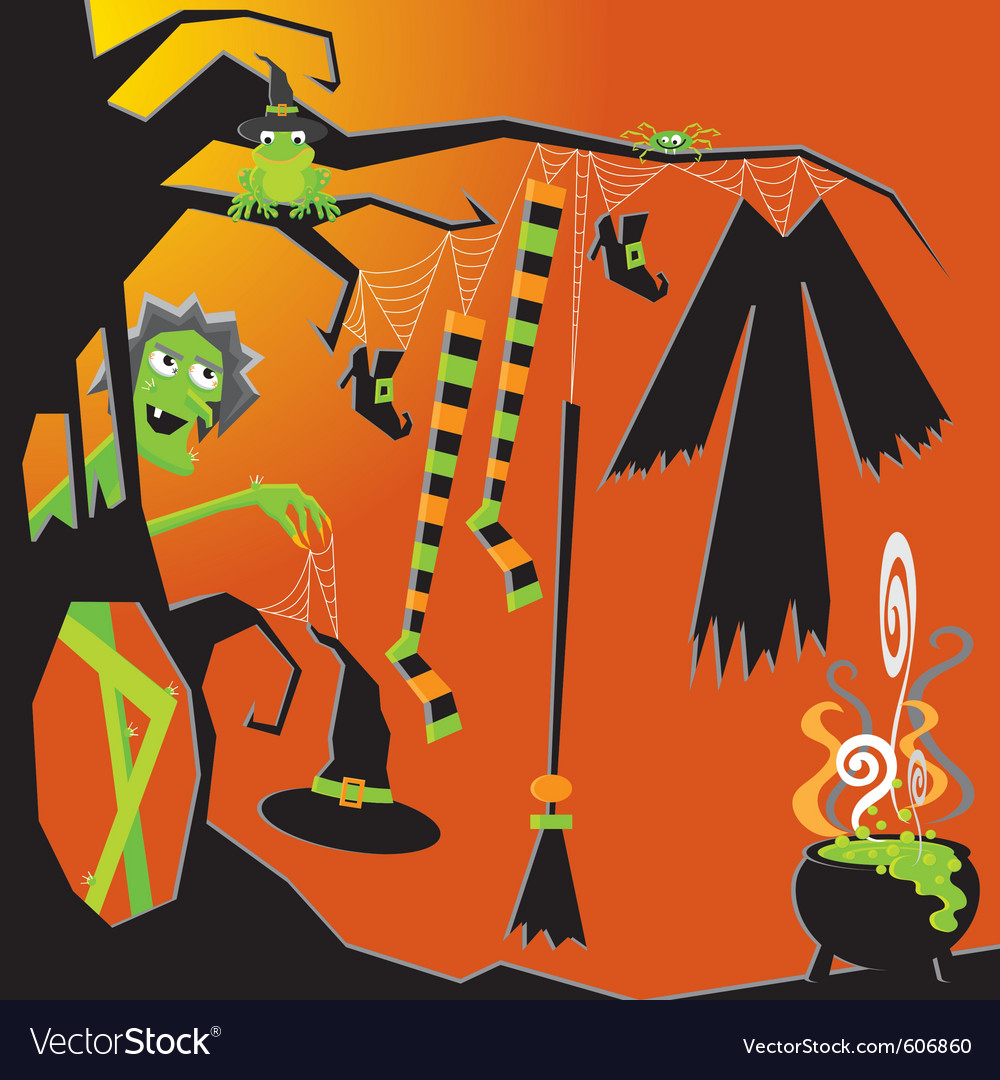 Witch and her clothesline vector image