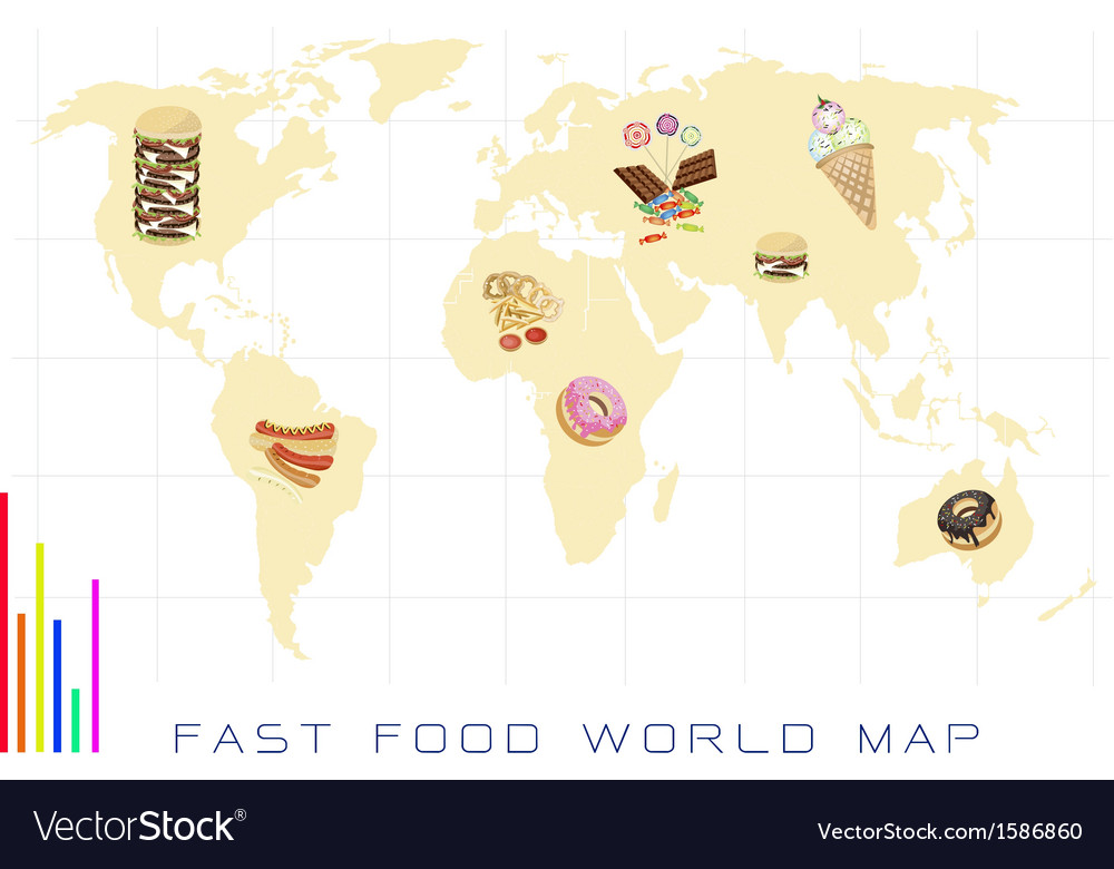 World Map with Fast Food and Sweet Food