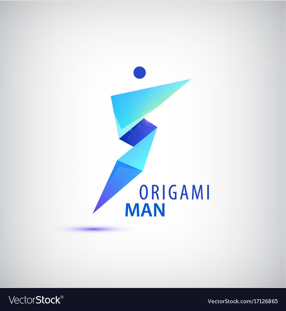 Abstract Origami Man Logo Leader Winner Vector Image
