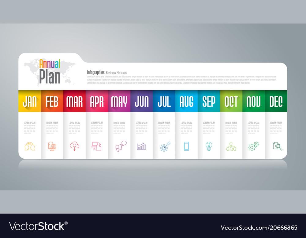 Annual plan january - december infographics design