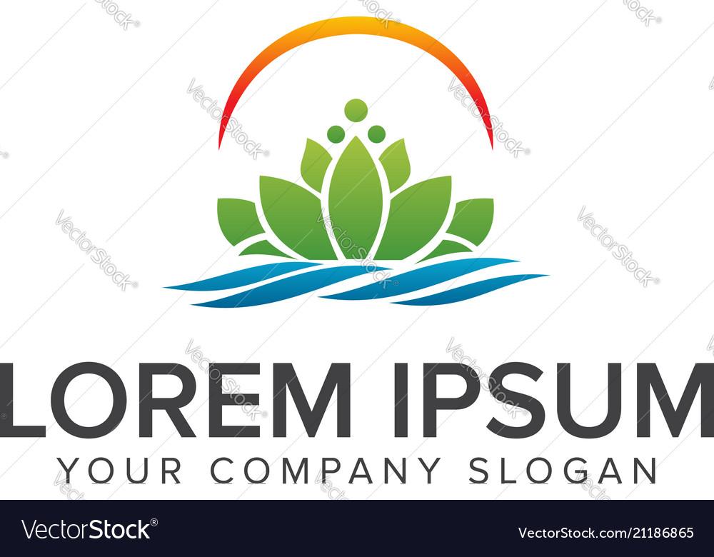 Beautiful lotus flower symbol logo design concept