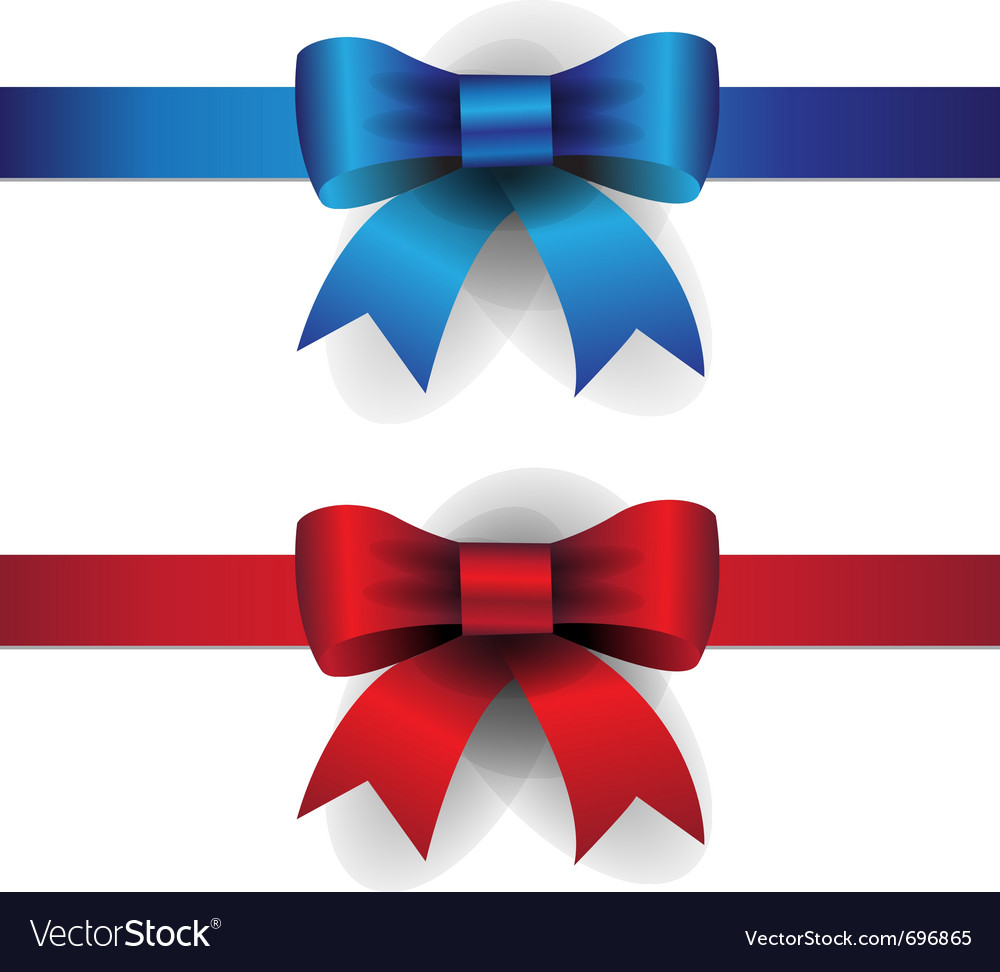 Blue red ribbon bows
