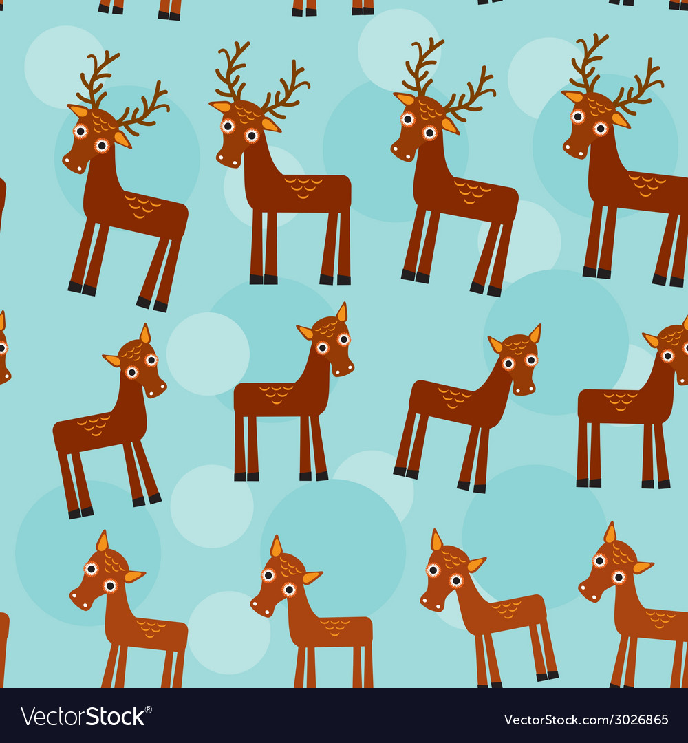 Deer Set of funny animals seamless pattern on a