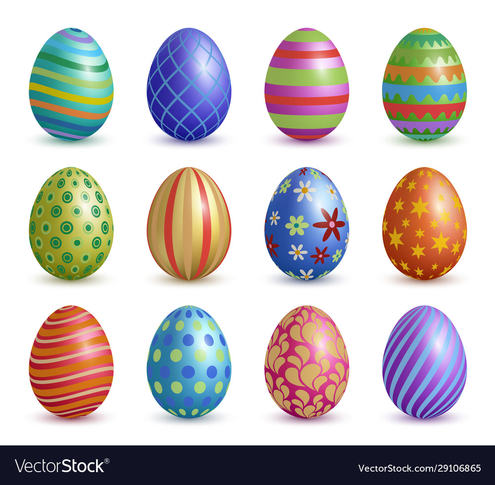 Easter eggs colored floral graphic decoration