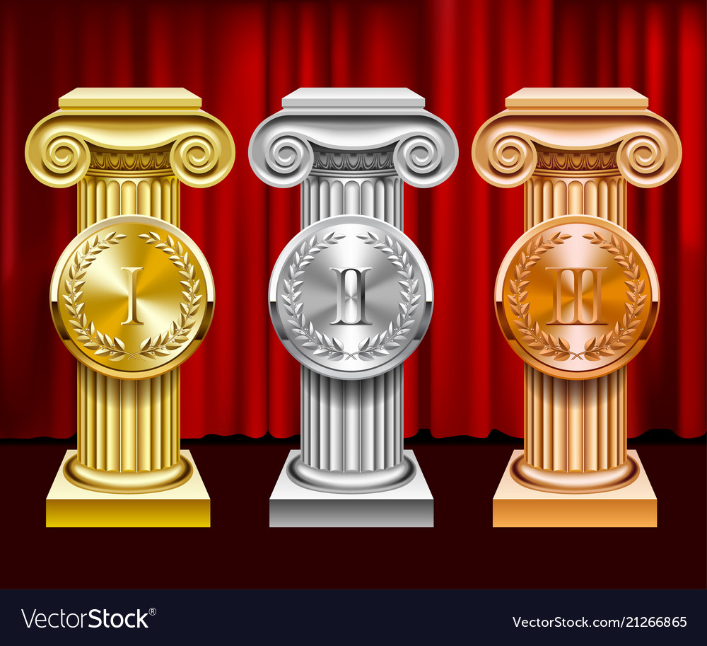 Gold silver and bronze ancient columns and round