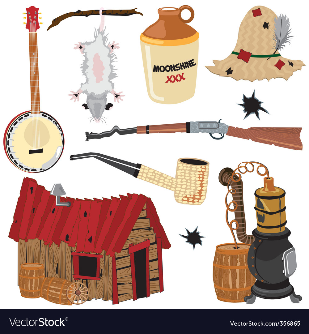Hillbilly clipart icons vector image