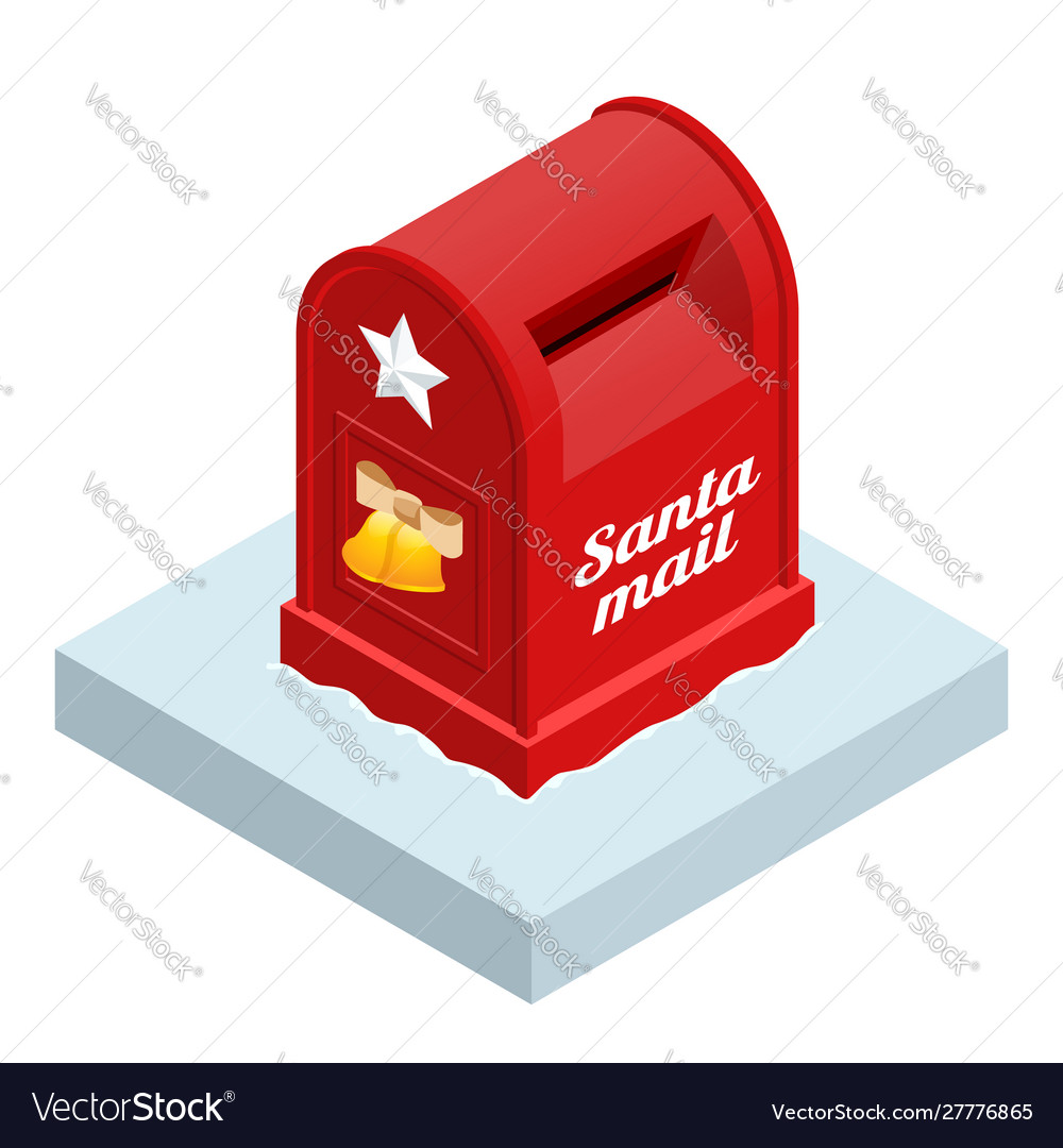 Isometric red santa letterbox isolated on white