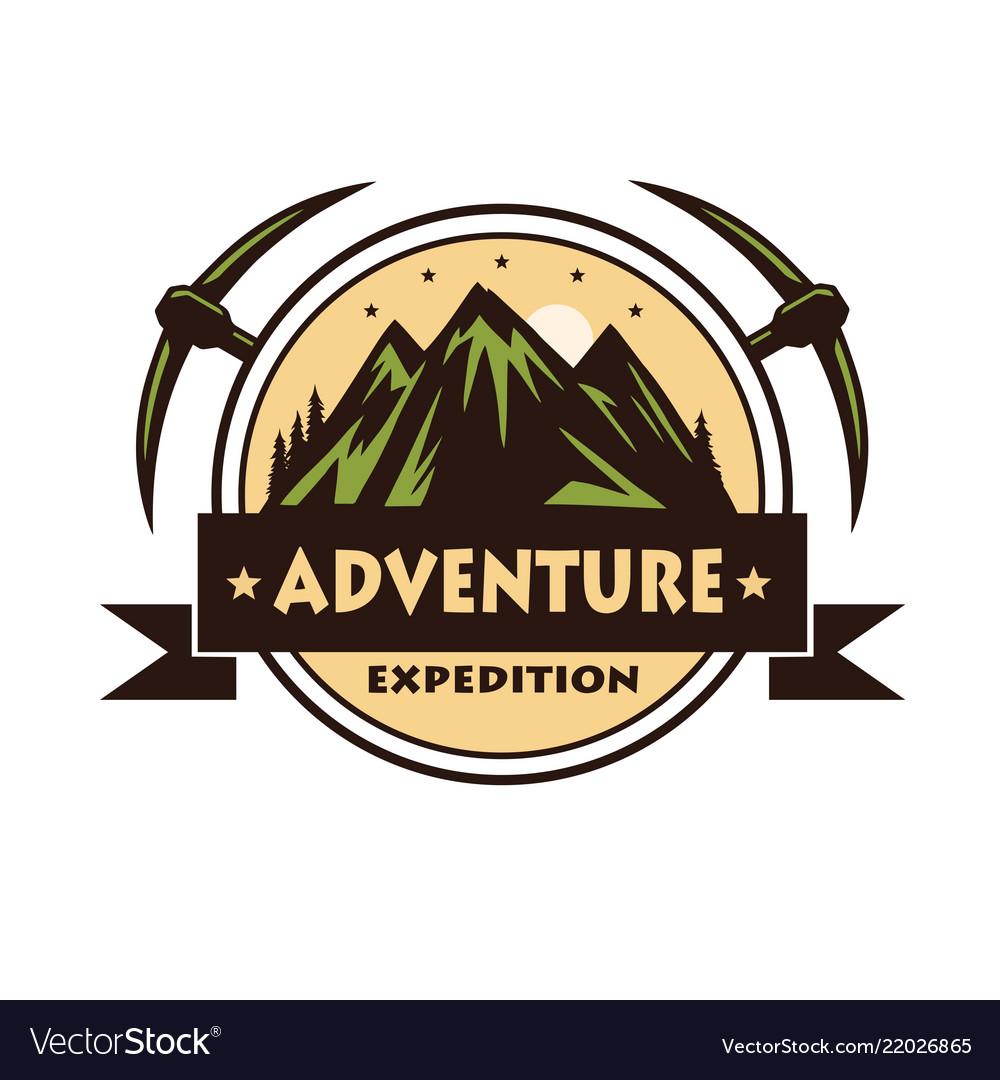 Mountain rock climbing adventure logo