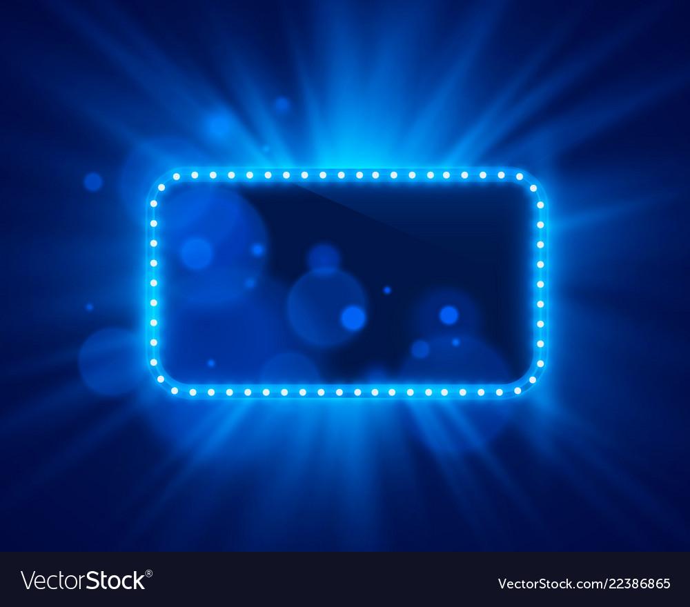 Neon frame light color blue