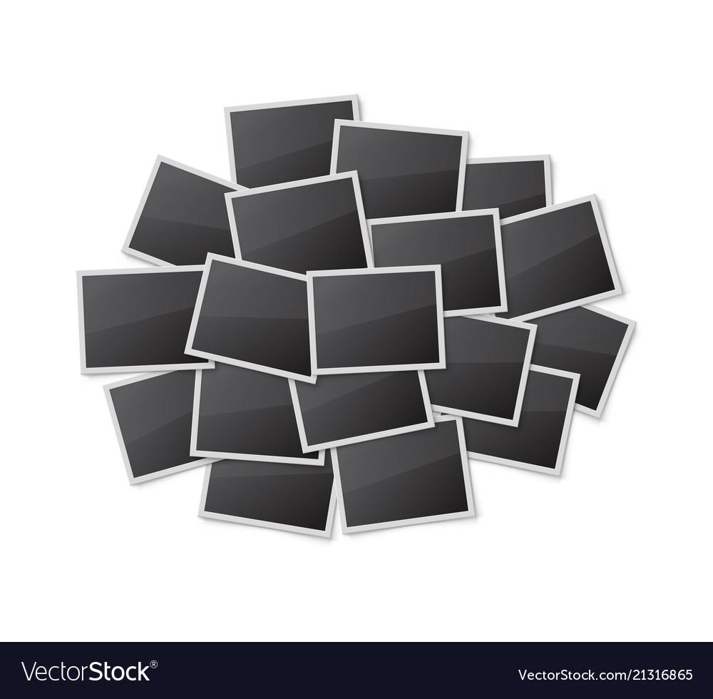 Realistic blank photo frames set