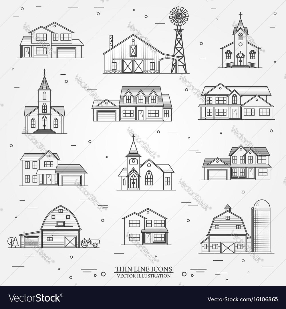 Set of thin line icon suburban american vector image