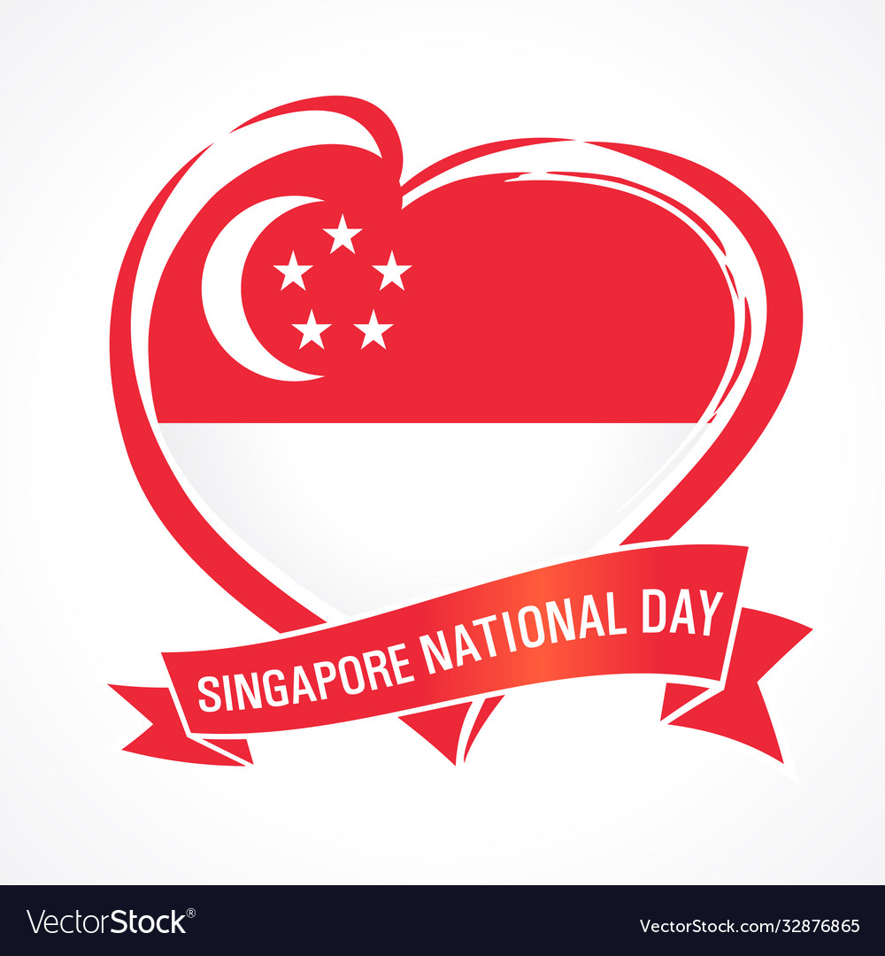 Singapore national day love flag emblem