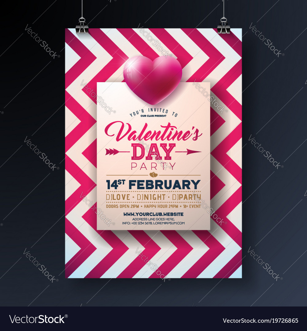 valentines day party flyer design with holiday vector image