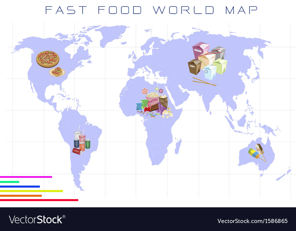 World map with fast food and take away food vector image gumiabroncs Choice Image