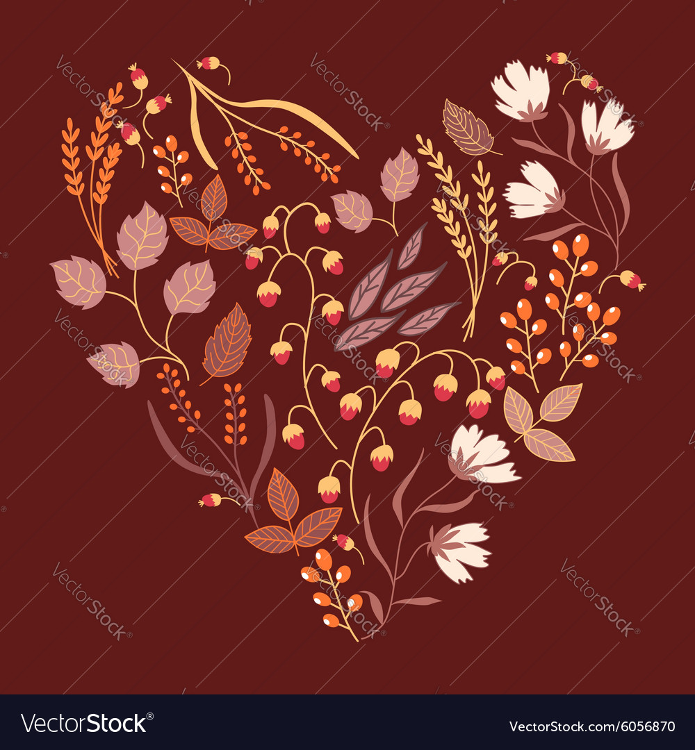 Autumn floral card Fall autumn leaves in the