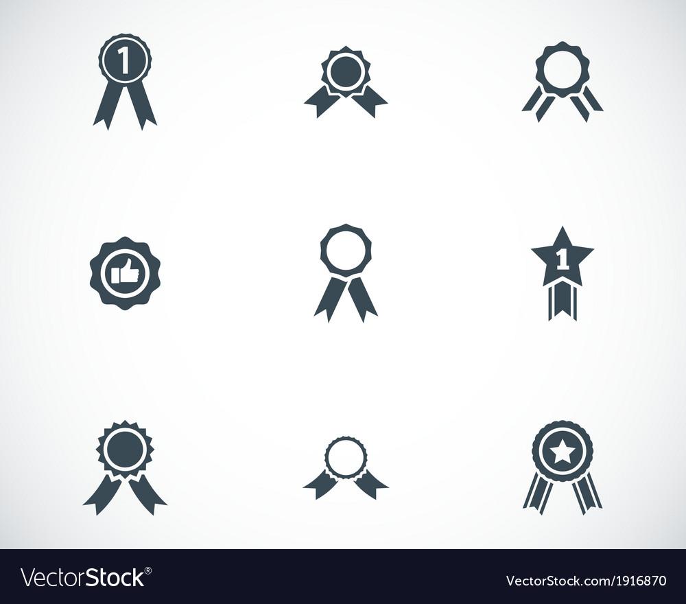 Black award medal icons set