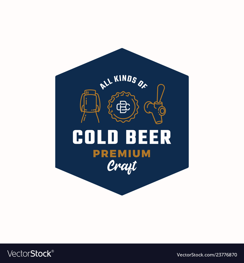 Cold beer abstract beer sign logo or