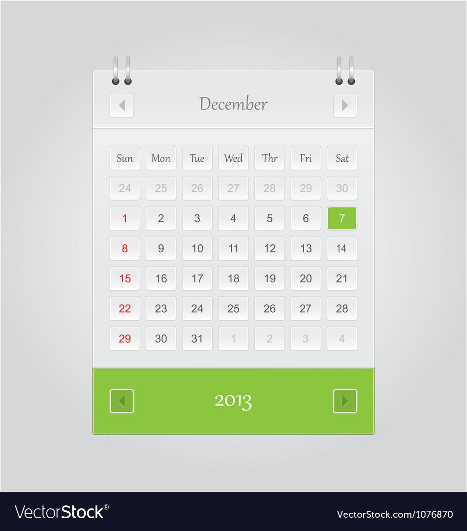 December 2013 Calendar vector image