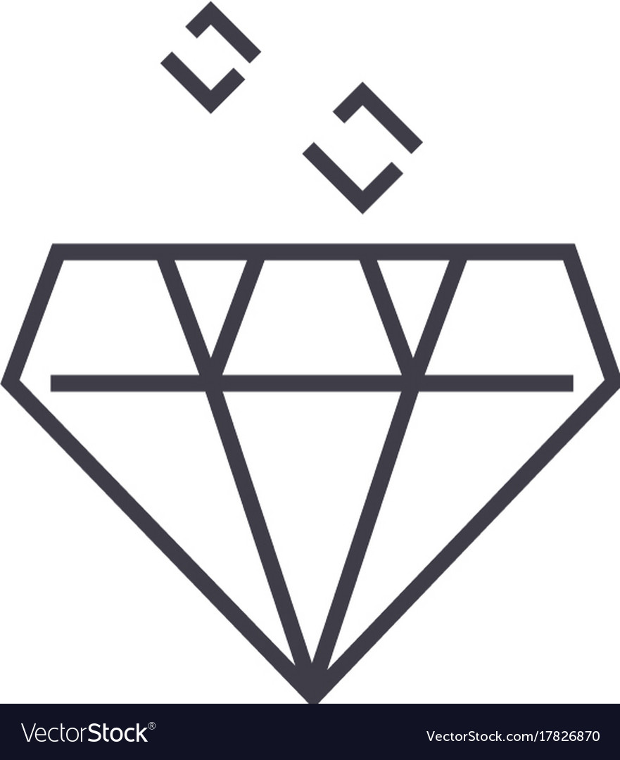 Diamond line icon sign on