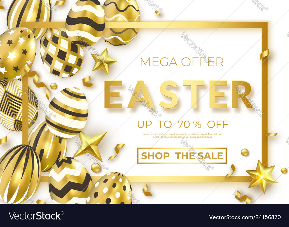 Easter horizontal sale banner with realistic
