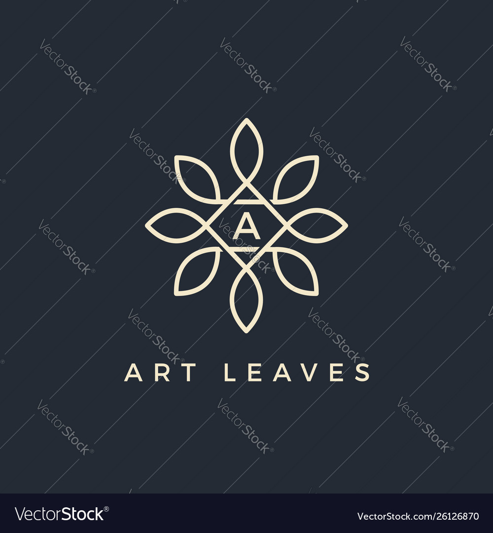 Flat floral leaves initial letter type a logo