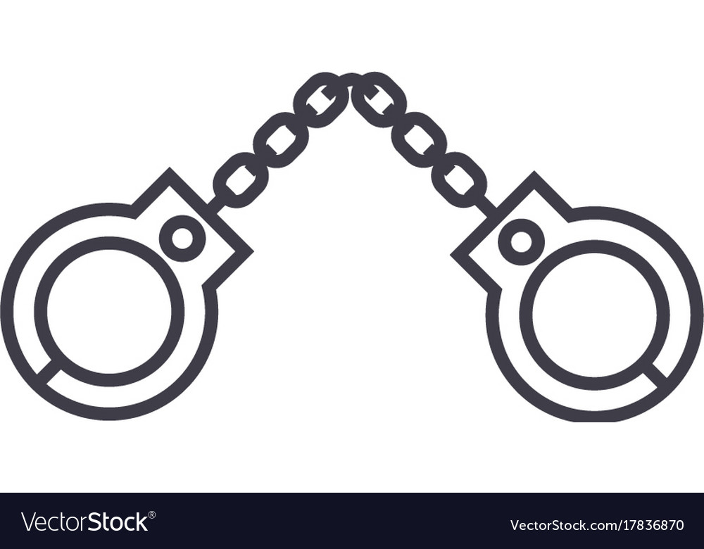 Handcuffs line icon sign on