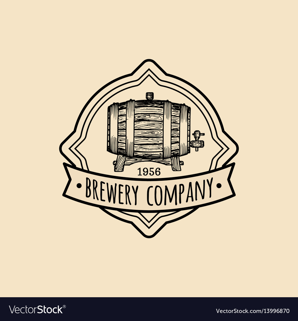 Kraft beer barrel logo old brewery icon hand