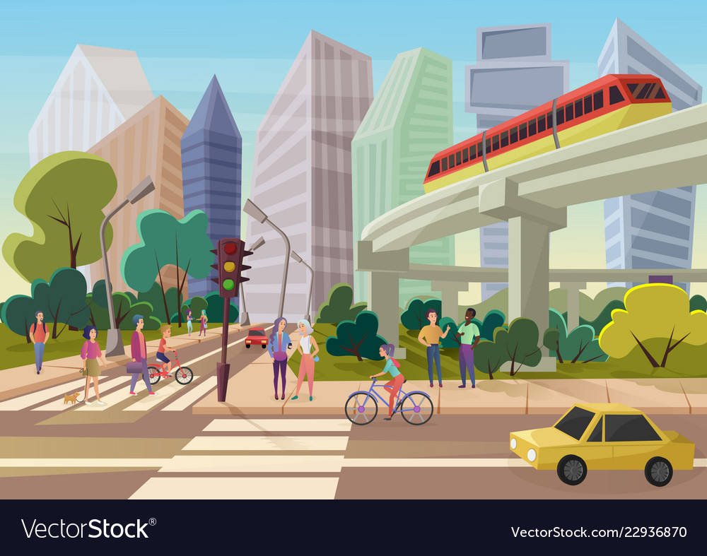 Modern urban cartoon city street with young people